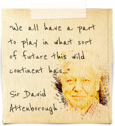 """""""We all have a part to play in what sort of future this wild continent has...""""  Sir David Attenborough"""